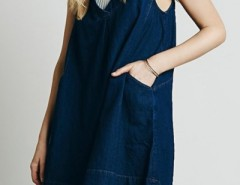 Deep V Loose Fit Sleeveless Denim Dress OASAP bester Fashion-Online-Shop aus China