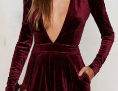 Deep V On-seam Pocket Long Sleeve Velvet Romper OASAP bester Fashion-Online-Shop aus China