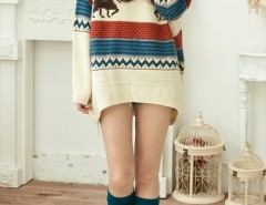 Deer Pattern Colored Loose Jumper OASAP bester Fashion-Online-Shop aus China