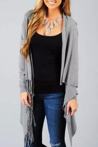 Fashion Fringed Asymmetric Shoulder Button Cardigan OASAP bester Fashion-Online-Shop aus China