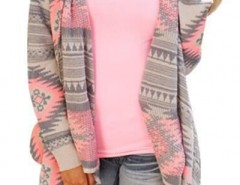 Fancy Geo-Print Open Front Asymmetric Cardigan OASAP bester Fashion-Online-Shop aus China