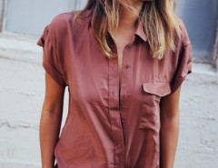 Fancy Stand Collar Short Sleeve Button Down Shirt OASAP bester Fashion-Online-Shop aus China