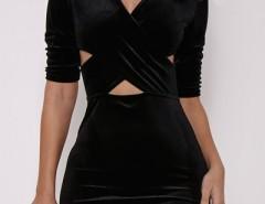 Fancy Velvet Crisscross Front Body-con Dress OASAP bester Fashion-Online-Shop aus China