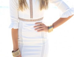 Fashion Hollow-out Flouncing Cuff White Body-con Dress OASAP bester Fashion-Online-Shop aus China