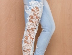 Fashion Wash Lace Paneled Jeans OASAP bester Fashion-Online-Shop aus China