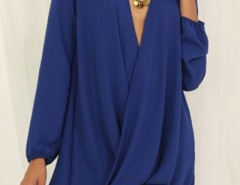 Faux Wrap Asymmetric High Low Chiffon Dress OASAP bester Fashion-Online-Shop aus China