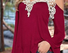 Floral Lace Paneled Open Shoulder Stretched Tee OASAP bester Fashion-Online-Shop aus China