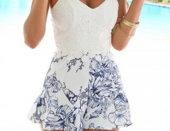Floral Print Crochet Lace Paneled Spaghetti Strap Romper OASAP bester Fashion-Online-Shop aus China