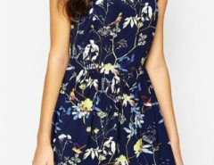 Floral Print Short Sleeves Dress OASAP bester Fashion-Online-Shop aus China