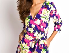 Floral Print Surplice Romper OASAP bester Fashion-Online-Shop aus China