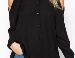 Glamorous Solid Cutout Pleated Shirt OASAP bester Fashion-Online-Shop aus China
