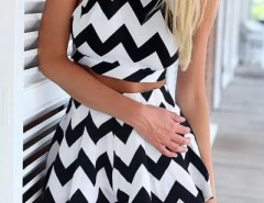 Graphic Chevron Print Tank Shorts Matching Set OASAP bester Fashion-Online-Shop aus China