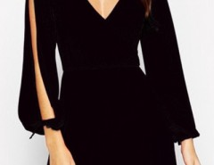 Hot Deep V Slit Sleeve Wrap Trapeze Dress OASAP bester Fashion-Online-Shop aus China