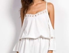 Hot Lace Paneled Off Shoulder V Neck Romper OASAP bester Fashion-Online-Shop aus China