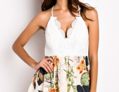 Lace Floral Print Irregular-Hem Rompers OASAP bester Fashion-Online-Shop aus China
