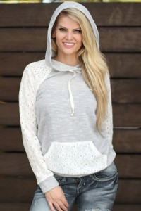 Lace Paneled Drawstring Front Pocket Hooded Sweatshirt OASAP bester Fashion-Online-Shop aus China