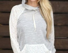 Lace Paneled Drawstring Front Pocket Hooded Sweatshirt OASAP bester Fashion-Online-Shop aus China