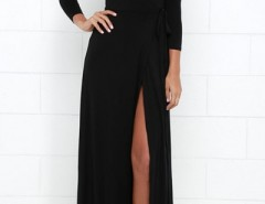 Modern Black High Slit Belted Wrap Dress OASAP bester Fashion-Online-Shop aus China