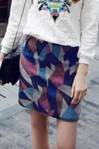 Modern Geo-Print High Waist Skirt OASAP bester Fashion-Online-Shop aus China