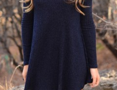 Modern Solid Color Long Sleeve Pullover Dress OASAP bester Fashion-Online-Shop aus China