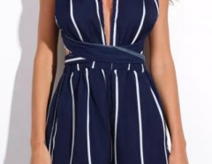 Navy Striped Plunging Crossback Romper OASAP bester Fashion-Online-Shop aus China