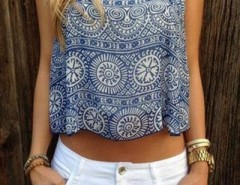 Navy Vintage-Print Crop Cami Top OASAP bester Fashion-Online-Shop aus China