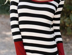 Novelty Stripe Color Block Round Neck Knit Tee OASAP bester Fashion-Online-Shop aus China