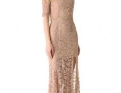Nude Pink High Slit V Back Lace over Maxi Dress OASAP bester Fashion-Online-Shop aus China