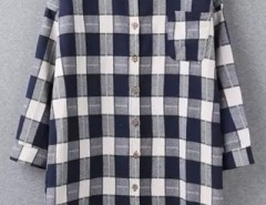 Oversized Plaid Print High Low Button Down Shirt OASAP bester Fashion-Online-Shop aus China