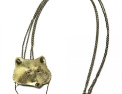 pendant-brooch brass necklace - racoon Carnet de Mode bester Fashion-Online-Shop