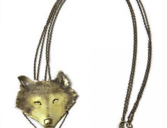 pendant-brooch brass necklace - wolf Carnet de Mode bester Fashion-Online-Shop