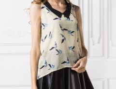Peter Pan Collar Bird-Print Top OASAP bester Fashion-Online-Shop aus China