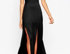Scoop Back Slit Sleeveless Halter Maxi Dress OASAP bester Fashion-Online-Shop aus China