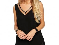 Sexy Paneled Mesh Backless Tee Top OASAP bester Fashion-Online-Shop aus China