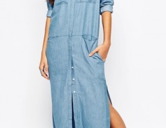 Side Slit Button Front Denim Maxi Dress OASAP bester Fashion-Online-Shop aus China