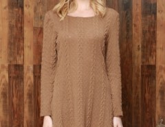 Simple Cable Knit Round Neck Sweater Dress OASAP bester Fashion-Online-Shop aus China