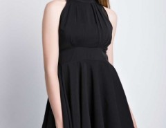 Solid Black High Waist Halter Neck Dress OASAP bester Fashion-Online-Shop aus China