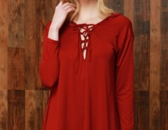 Solid Color Lace-up Front Long Sleeve Hooded Tee OASAP bester Fashion-Online-Shop aus China