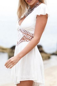 Solid White Lace Paneled Cap Sleeve Romper OASAP bester Fashion-Online-Shop aus China