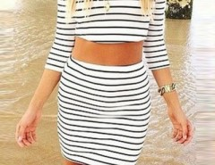 Striped Crop Top Bodycon Skirt Matching Sets OASAP bester Fashion-Online-Shop aus China
