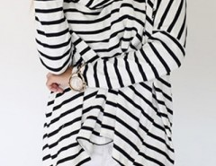 Striped Pattern Scarf Neckline Top OASAP bester Fashion-Online-Shop aus China