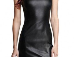 Stylish Faux Leather Sleeveless Flouncing Hem Bodycon Dress OASAP bester Fashion-Online-Shop aus China