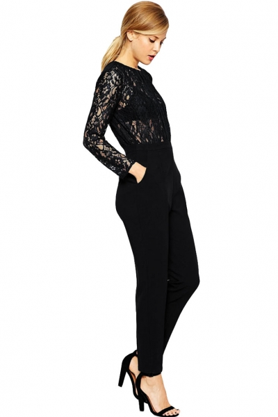 Stylish Lace Contrast Jumpsuit OASAP bester Fashion-Online-Shop aus China bf0025fef2