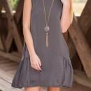 Stylish Round Neck Keyhole Back Flouncing Dress OASAP bester Fashion-Online-Shop aus China