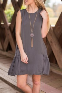 Stylish Round Neck Keyhole Back Flouncing Dress OASAP bester Fashion-Online-Shop aus China