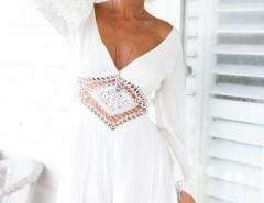 Stylish Solid White Hollow Out Romper OASAP bester Fashion-Online-Shop aus China