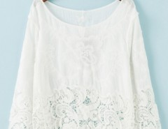 Sweet Floral Lace Print Round Neck Blouse OASAP bester Fashion-Online-Shop aus China