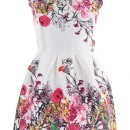 Sweet Graphic Floral White Mini Flare Dress OASAP bester Fashion-Online-Shop aus China