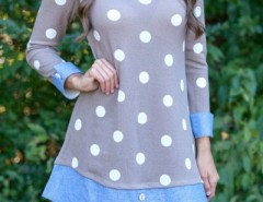 Sweet Polka Dot Denim Paneled Button Decor Dress OASAP bester Fashion-Online-Shop aus China