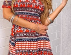 Tribal Geo Print Off-The-Shoulder Mini Dress OASAP bester Fashion-Online-Shop aus China